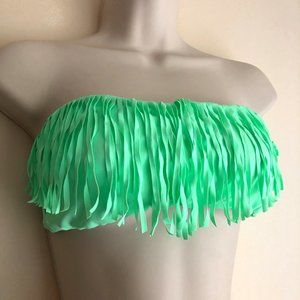 VS Strapless Bikini Top in Neon Mint/Fringe Size M